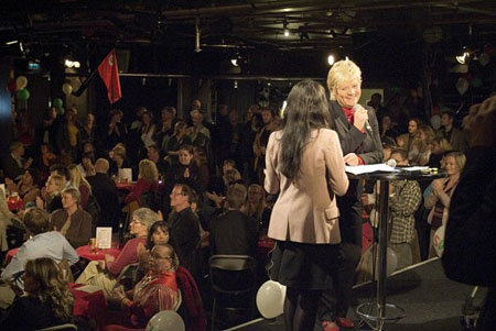 Kristin Halvorsen på valgvake 2007. Foto: Stig Weston